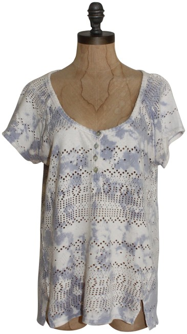 Item - Beige Gray We The Tie Dye Eyelet Henley Tee Shirt Size 8 (M)