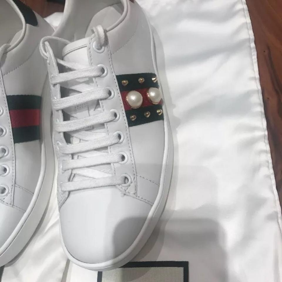 23ae49bfbff Gucci White Ace Studded Leather Sneakers Sneakers Size US 7 Regular ...