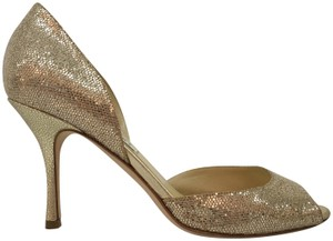 Jimmy Choo Glitter Bridal Peep Toe Gold Formal