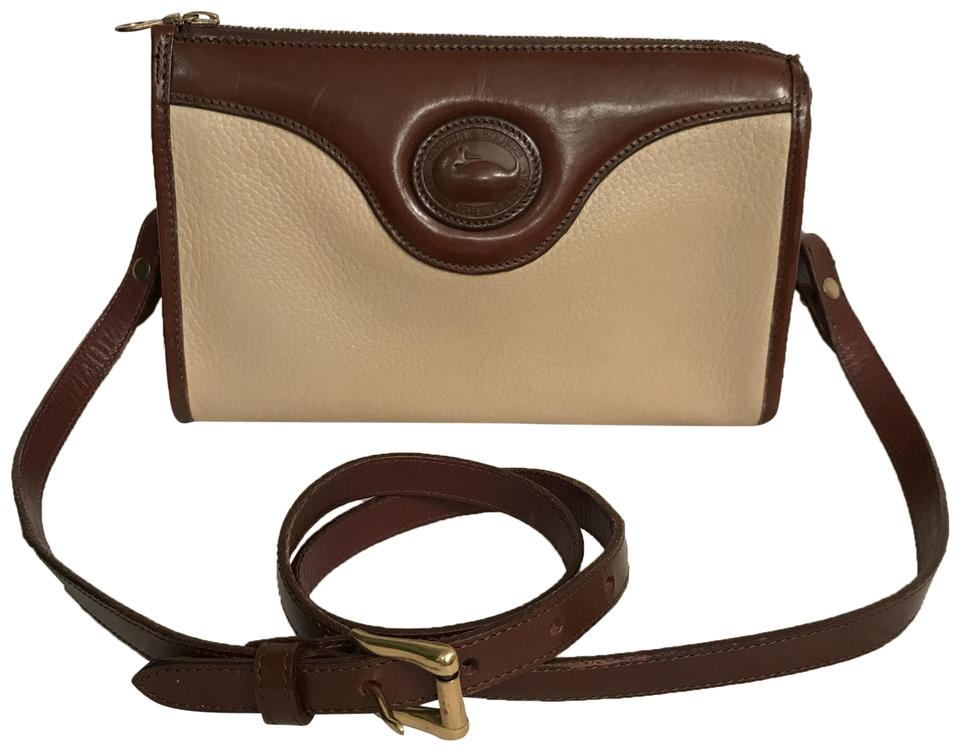 e47195a60c6a Dooney   Bourke Vintage White Brown All Weather Leather Cross Body ...