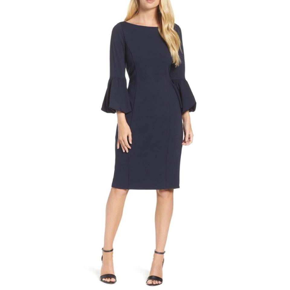 a794dca0 Eliza J Navy Bell Sleeve Ruffle Sheath Work/Office Dress Size 2 (XS ...