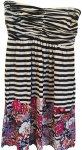 Soma Intimates short dress Black and White with Flowers Beach Strapless Cover Up Pool Summer on Tradesy