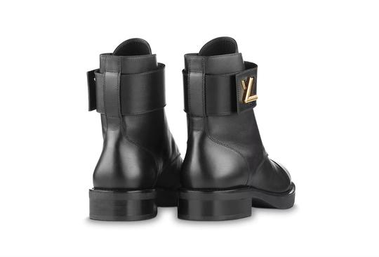 Louis Vuitton Calfskin Chunky Gold Hardware Leather Black Boots