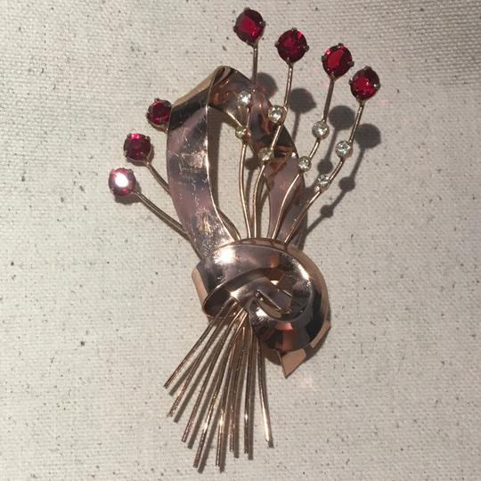 Vintage Vintage Corocraft Sterling Silver Red Stone Brooch Pin