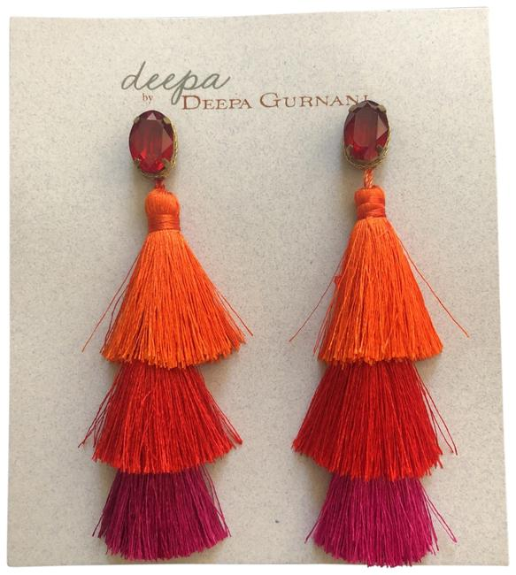 Red Three Layers Tassel Fringes Earrings Red Three Layers Tassel Fringes Earrings Image 1