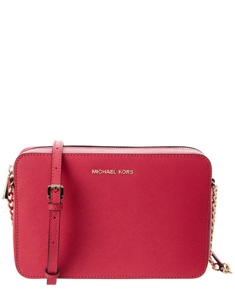 cd25871b74fe MICHAEL Michael Kors Jet Set Large Saffiano Ultra Pink Leather Cross ...