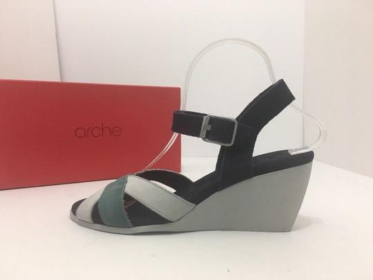 Arche Wedge High Comfort Gray, Navy, Green - Multi Color Sandals