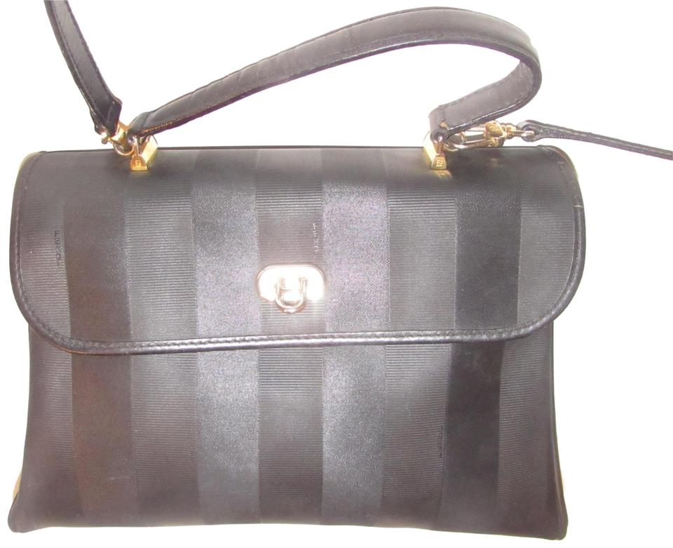 11d807949e35 Fendi Mint Vintage Large Size Rare Early Two-way Style Satchel in black  wide stripe ...