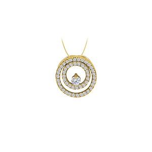 Marco B CZ Double Circle Pendant Gold VermeilSilver 0.50 CT TGWJewelry Gift