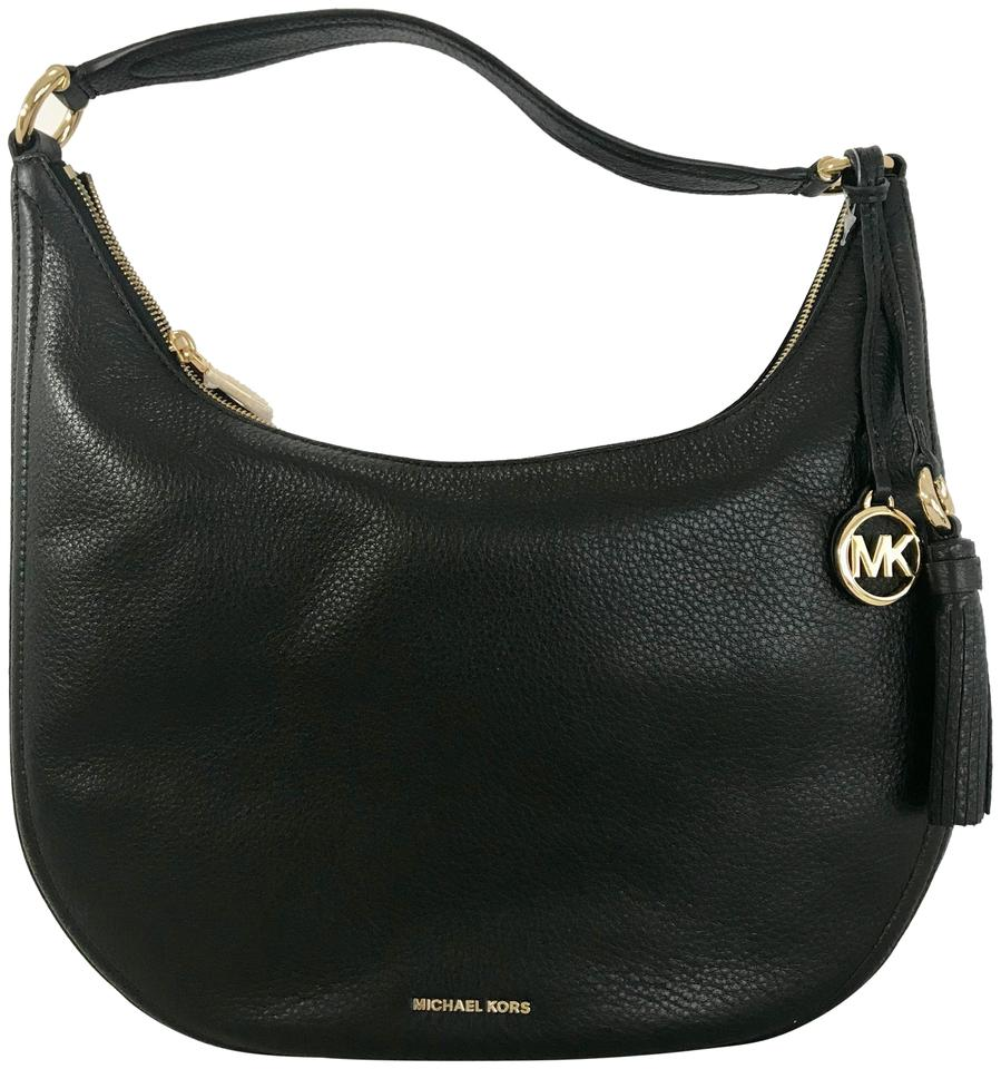 f282cf78a9bc3 MICHAEL Michael Kors Lydia Large Hobo Black Leather Shoulder Bag ...