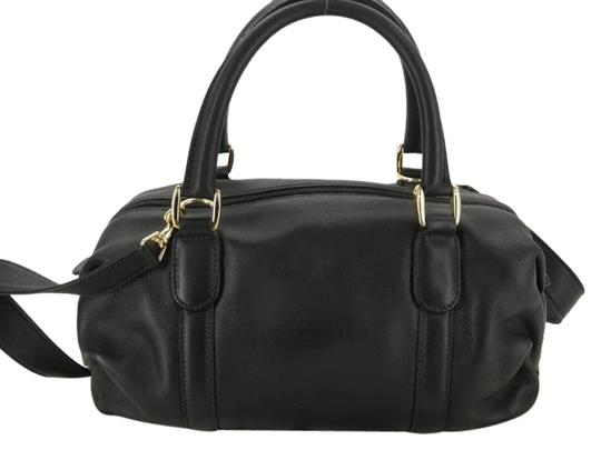 Gucci Leather Satchel 2 Two Way Black Cross Body Bag