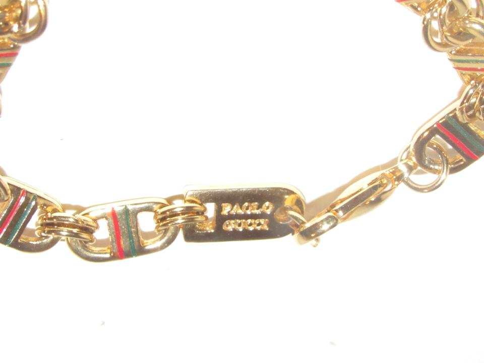 b9793a509 Gucci Gold Links with Red and Green Enamel Stripes Vintage Jewelry ...