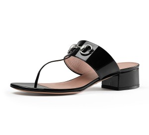 Gucci Patent Leather Lillian Black Sandals