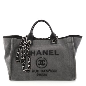 Chanel Large Deauville Sequins Tote in Gray Denim