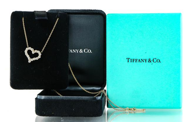 Tiffany & Co. * 18k Gold Co Open Heart Diamonds Pendant Necklace Tiffany & Co. * 18k Gold Co Open Heart Diamonds Pendant Necklace Image 1