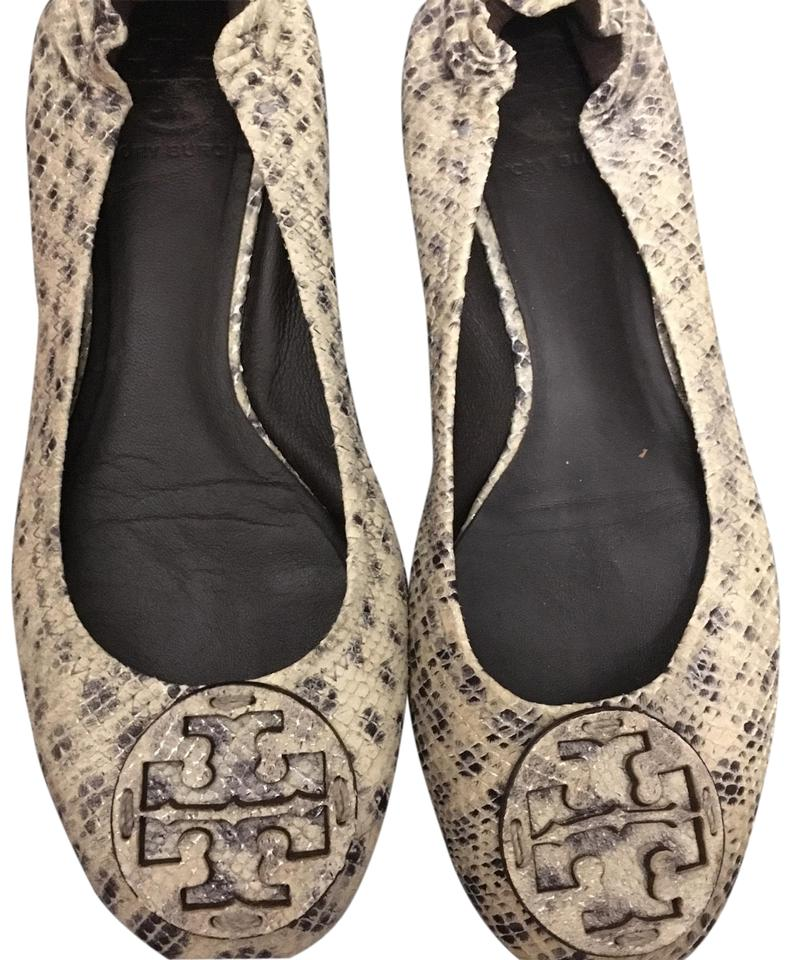 Tory Burch Python Black and Grey Python Burch Reva Ballet Flats 84f59c