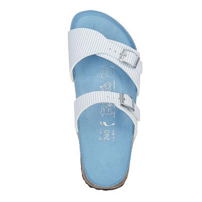 Item - Blue W Aziza Double Strap W/ Colored Footbed Sandals Size EU 37 (Approx. US 7) Wide (C, D)