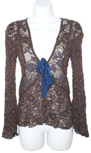 Ann Ferriday Lace Tie Front Sheer Cardigan