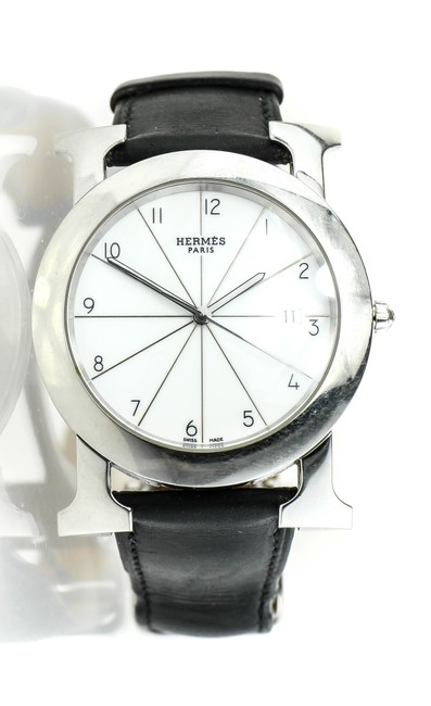 Item - * Stainless Steel and Black Leather Heure H Ronde Hr1.710 Watch