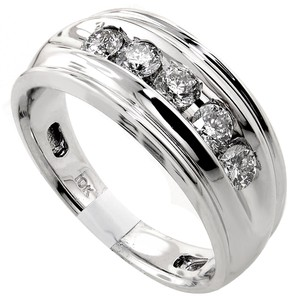 Diamond Mens Wedding Band .84tcw 10k White Gold H Color Si3 Calrity Made In Usa