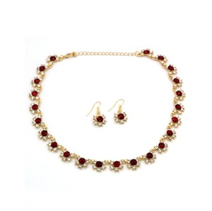 Ocean Fashion Gold red crystal necklace earrings set