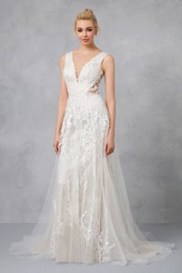 Galina Ivory/Champagne Tulle Lace Net Sequins Swg722 Vintage Wedding Dress Size 8 (M)