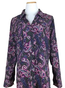 NY Collection Button Down Shirt purple pink