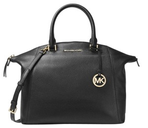 Michael Kors Campbell Crossbody Peython Satchel in black gold