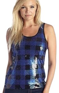 MICHAEL Michael Kors Plaid Sequin Checkered Scoop Neck Top Blue / Black