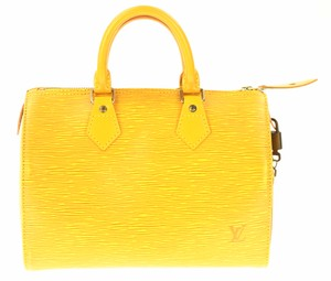 Louis Vuitton Epi Speedy Leather Satchel in Yellow