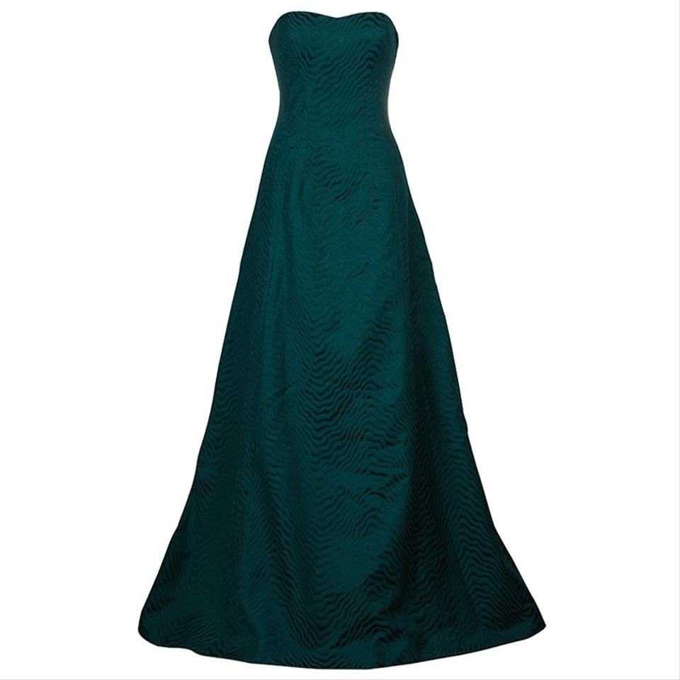 Jason Wu Green Fw14 Evergreen Jacquard Strapless Gown M Long Casual ...
