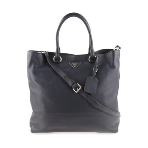 Prada Navy Leather Vitello Daino Satchel in Blue