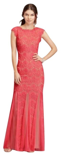 Preload https://img-static.tradesy.com/item/23358614/betsy-and-adam-coralred-coralred-lace-mermaid-gown-long-cocktail-dress-size-petite-12-l-0-1-650-650.jpg
