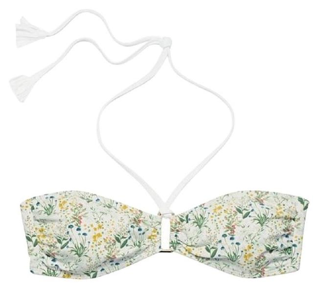 Item - Green Floral Tomino Bandeau Small Bikini Top Size 4 (S)