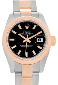 Rolex Rolex Datejust Steel Rose Gold Black Dial Ladies Watch 179161