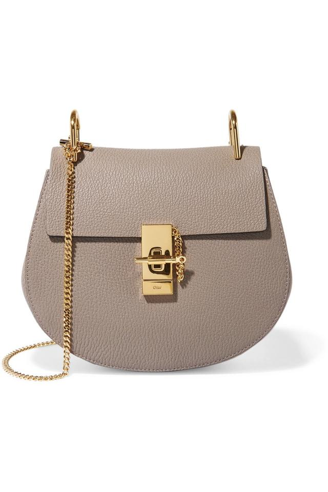 a14958b3e3af1 Chloé Drew - Small Gray Leather (Lamb) and Suede (Calf) Shoulder Bag ...