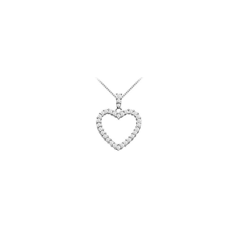 White silver sterling floating heart cubic zirconia pendant 125 ct marco b sterling silver floating heart cubic zirconia pendant necklace 125 ct aloadofball Images
