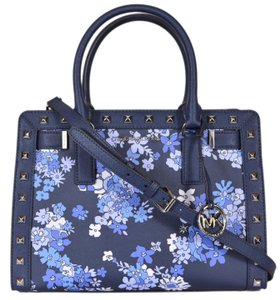 Michael Kors Dillon Small Monogram Brown Crossbody Strap Satchel in navy floral