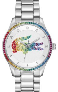 Lacoste Silver Bracelet Crystal Rainbow Logo Dial Victoria 2000869