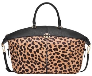 Tory Burch Slouchy Satchel Tote in Leopard Black