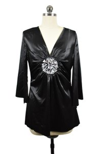 Boston Proper Satin Rhinestone Kimono Sleeve Evening Top Black