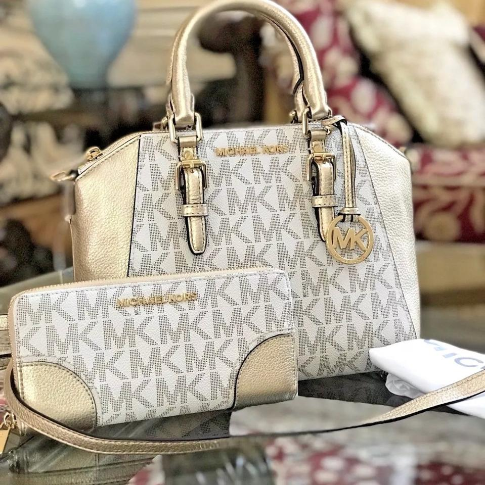 e9c8a6c4e691dd Michael Kors Monogram Signature Ciara Pebbled Leather Satchel in vanilla/PALE  GOLD Image 0 ...
