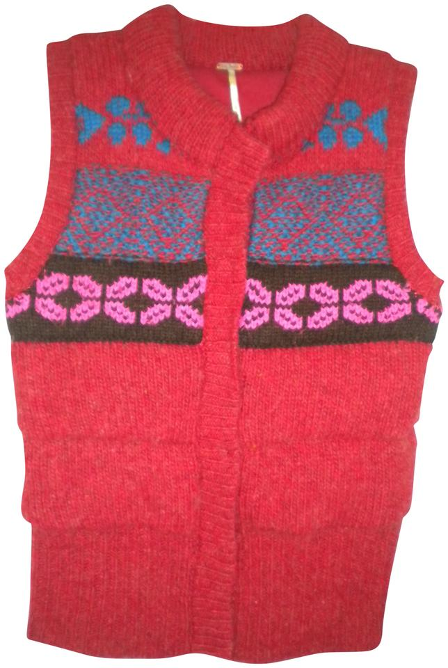 Free People Red Women Large Sweater Vest Size 14 L Tradesy