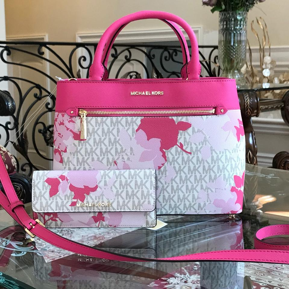 f55b13eb4989 Michael Kors Set Of 2 Items Handbag And Wallet Hailee Trifold Wallet Satchel  in granita Image. 123456789101112