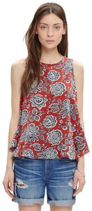 Madewell Silk Ruffle Floral Sleeveless Bow Top Rusted Red