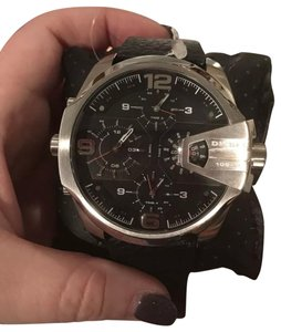 Diesel New Diesel Original Men's DZ7376 Uber Chief Black Leather Strap Watch 55mm