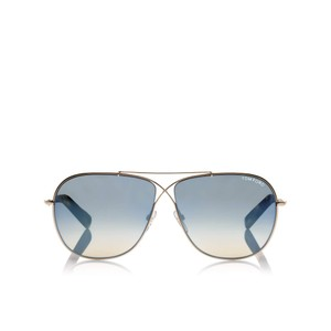 Tom Ford Tom Ford FT0393/S 28P APRIL Gold Blue Gradient Aviator Sunglasses