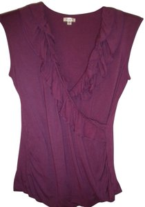 Studio Y Ruffle Trim V-neck Sleeveless Top Fuchsia