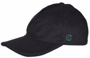 Gucci Gucci 353505 Men's Black Felted Wool Red Green Band GG Baseball Hat M