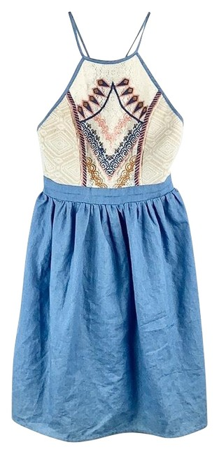 Item - Blue Ivory Pink Beige Halter Embroidered Boho Sweet Peasant Short Night Out Dress Size 2 (XS)